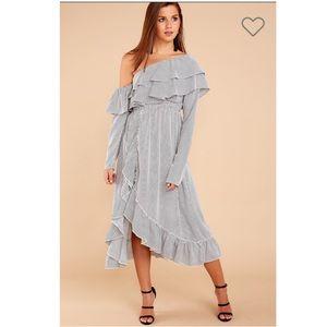 NWT Black Stripe One Shoulder Dress